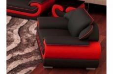 fauteuil 1 place en cuir italien vachette candide noir et rouge