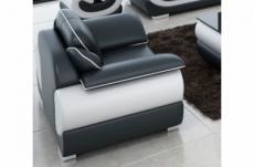 fauteuil 1 place en cuir italien vachette candide noir et blanc
