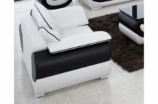 fauteuil 1 place en cuir italien vachette candide blanc et noir