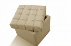 pouf-coffre de rangement de qualité supérieure capito, beige
