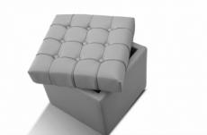pouf-coffre de rangement de qualité supérieure capito, gris clair