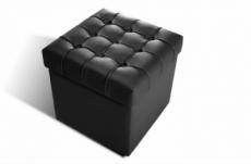 pouf-coffre de rangement de qualité supérieure capito, noir