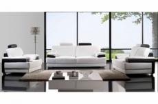 ensemble capri, 3 pièces: canapé 3 places + 2 places + fauteuil en cuir luxe haut de gamme italien vachette. blanc et noir