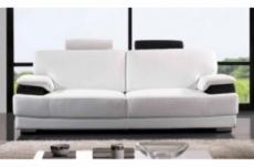 canapé 3 places en 100% tout cuir luxe haut de gamme italien vachette. blanc et noir