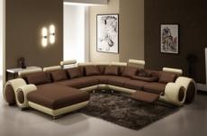 canapé d'angle en cuir italien 8 places carlton, chocolat et beige