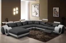 canapé d'angle en cuir italien 8 places carlton, gris foncé et blanc