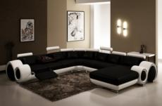 canapé d'angle en cuir italien 8 places carlton, noir et blanc