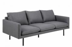 canapé 3 places en tissu de qualité carole, gris foncé