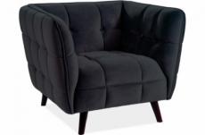 fauteuil 1 place casini en tissu de qualité, couleur noir
