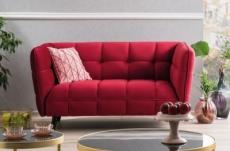 canapé 2 places casini en tissu de qualité, couleur bordeaux