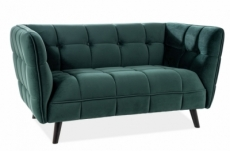 canapé 2 places casini en tissu de qualité, couleur vert