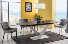 table à manger extensible casta ii ceramic, couleur noire et blanche