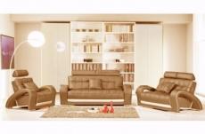 ensemble catania 3 pièces: canapé 3 places + 2 places + fauteuil en cuir luxe italien vachette, marron et écru