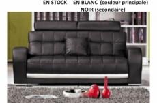 catania canapé 3 places en cuir luxe italien vachette, blanc en couleur principale et noir en couleur secondaire