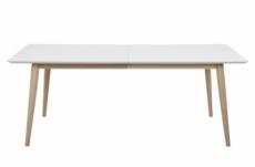 table à manger cenza, bois, plateau blanc laqué