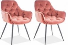 ensemble de 2 chaises cheril  en tissu de qualité, couleur rose pale