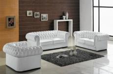 ensemble 3+2+1, canapé 3 places et canapé 2 places et fauteuil 1 place en cuir luxe italien chesterfield, blanc