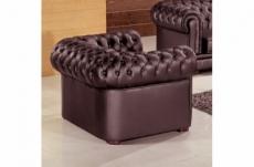 fauteuil 1 place en cuir italien chesterfield, chocolat