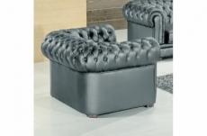 fauteuil 1 place en cuir italien chesterfield, gris foncé