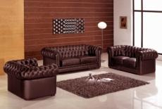 ensemble 3+2+1, canapé 3 places et canapé 2 places et fauteuil 1 place en cuir luxe italien chesterfield, chocolat