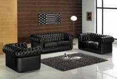 ensemble 3+2+1, canapé 3 places et canapé 2 places et fauteuil 1 place en cuir luxe italien chesterfield, noir