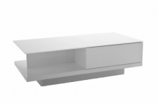 table basse design, blanc brillant, plateau de verre clair, cindy