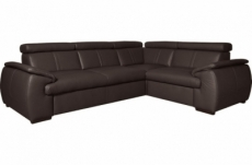 canapé d'angle en 100% cuir de luxe italien , 5 places cintia, couleur chocolat, angle droit
