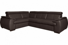 canapé d'angle en 100% cuir de luxe italien , 5 places cintia, couleur chocolat, angle gauche