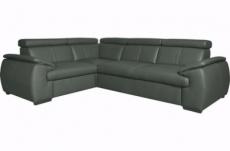 canapé d'angle en 100% cuir de luxe italien , 5 places cintia, couleur gris foncé, angle gauche
