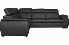 canapé d'angle en 100% cuir de luxe italien , 5 places cintia, couleur noir, angle gauche