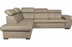 - canapé d'angle en 100% cuir de luxe italien , 5/6 places citizen, couleur beige, angle gauche