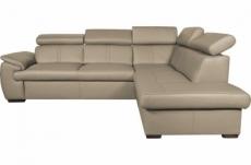 canapé d'angle en 100% cuir de luxe italien convertible et avec coffre, 5/6 places citizen, couleur beige, angle droit