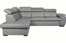 canapé d'angle en 100% cuir de luxe italien convertible et avec coffre, 5/6 places citizen, couleur gris clair, angle gauche