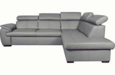canapé d'angle en 100% cuir de luxe italien , 5/6 places citibest, couleur gris clair, angle droit