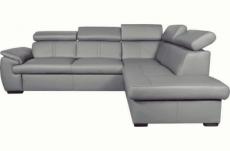 canapé d'angle en 100% cuir de luxe italien , 5/6 places citizen, couleur gris clair, angle droit