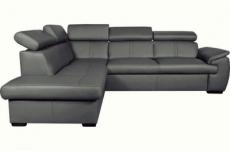canapé d'angle en 100% cuir de luxe italien , 5/6 places citibest, couleur gris foncé, angle gauche
