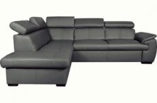 canapé d'angle en 100% cuir de luxe italien , 5/6 places citizen, couleur gris foncé, angle gauche