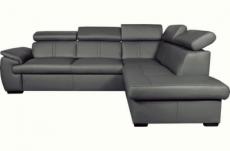 canapé d'angle en 100% cuir de luxe italien , 5/6 places citibest, couleur gris foncé, angle droit