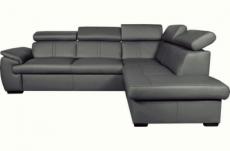 canapé d'angle en 100% cuir de luxe italien convertible et avec coffre, 5/6 places citizen, couleur gris foncé, angle droit