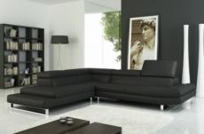 canapé d'angle en cuir italien 5/6 places grand city, noir