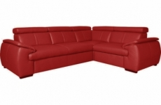 canapé d'angle en 100% cuir de luxe italien , 5 places cintia, couleur rouge foncé, angle droit