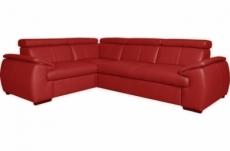 - canapé d'angle en 100% cuir de luxe italien , 5 places cintia, couleur rouge foncé, angle gauche
