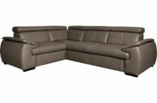 - canapé d'angle en 100% cuir de luxe italien , 5 places cintia, couleur taupe, angle gauche