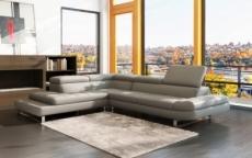 canapé d'angle en cuir italien 5/6 places grand city, gris clair