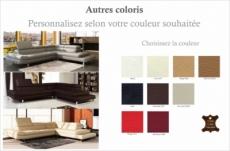 canapé d'angle en cuir italien 5/6 places grand city, couleur personnalisée