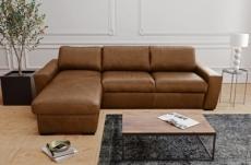 - canapé d'angle en 100% tout cuir italien de luxe 5 places convertible et coffre, marron, angle gauche, clinton