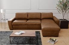 canapé d'angle en 100% tout cuir italien de luxe 5 places convertible et coffre, marron, angle droit, clinton