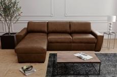 canapé d'angle en 100% tout cuir italien de luxe 5 places convertible et coffre, marron foncé, angle gauche, clinton