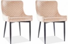 lot de 2 chaises colb en tissu velours de qualité, couleur beige