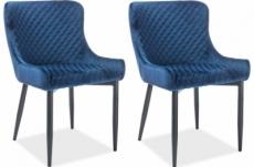 lot de 2 chaises colb en tissu velours de qualité, couleur bleu